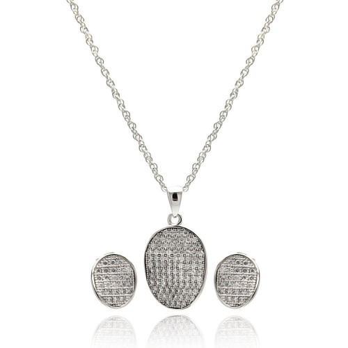 Wholesale Sterling Silver 925 Rhodium Plated Oval CZ Stud Earring and Necklace Set - STS00412