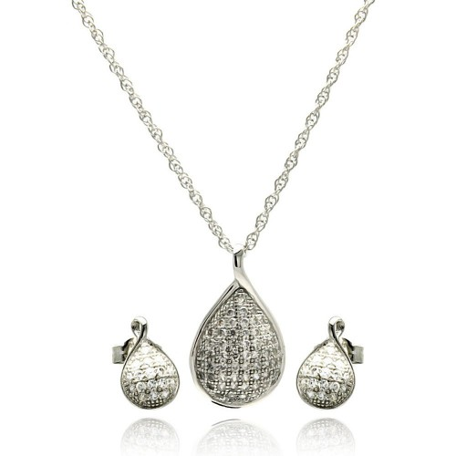 Wholesale Sterling Silver 925 Rhodium Plated Teardrop CZ Stud Earring and Necklace Set - STS00414