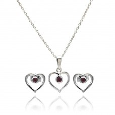 Wholesale Sterling Silver 925 Rhodium Plated Open Heart Round Red CZ Stud Earring and Necklace Set - STS00416