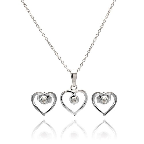 Wholesale Sterling Silver 925 Rhodium Plated Open Heart Round CZ Stud Earring and Necklace Set - STS00417