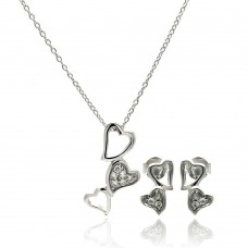 Wholesale Sterling Silver 925 Rhodium Plated Multiple Open Heart CZ Dangling Stud Earring and Necklace Set - STS00418
