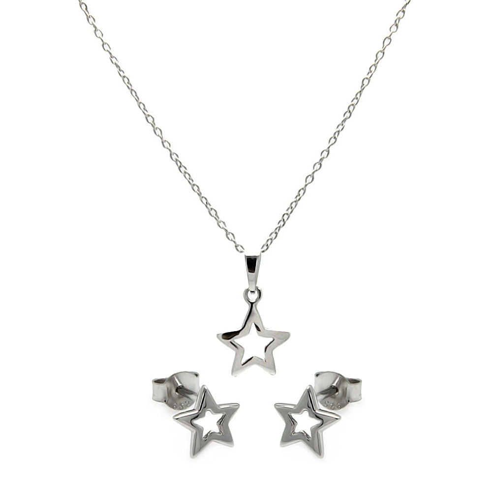 Wholesale Sterling Silver 925 Rhodium Plated Open Star CZ Stud Earring and Necklace Set - STS00420