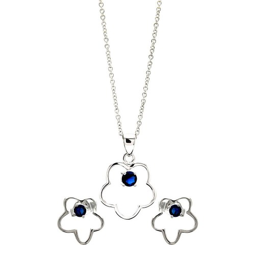 Sterling Silver Rhodium Plated Open Flower Round Blue CZ Stud Earring & Necklace Set sts00425