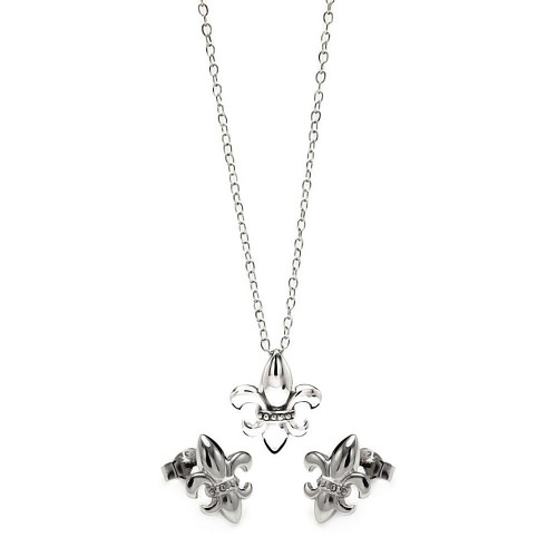 Wholesale Sterling Silver 925 Rhodium Plated Fleur De Lis CZ Stud Earring and Necklace Set - STS00428