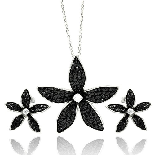 Wholesale Sterling Silver 925 Rhodium Plated Black Flower CZ Stud Earring and Necklace Set - STS00429