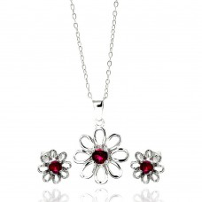 Wholesale Sterling Silver 925 Rhodium Plated Open Flower Center Red Round CZ Stud Earring and Necklace Set - STS00431