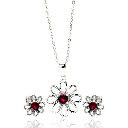 Sterling Silver Rhodium Plated Open Flower Center Red Round CZ Stud Earring & Necklace Set sts00431