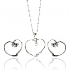 Wholesale Sterling Silver 925 Rhodium Plated Open Heart CZ Stud Earring and Necklace Set - STS00433