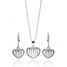 Wholesale Sterling Silver 925 Rhodium Plated Open Heart Stripe CZ Stud Earring and Necklace Set - STS00434