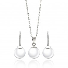 Wholesale Sterling Silver 925 Rhodium Plated White Pearl Lever Back Earring and Necklace Set - STS00435