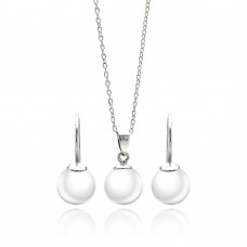 Wholesale Sterling Silver 925 Rhodium Plated White Enamel Lever Back Earring and Necklace Set - STS00436