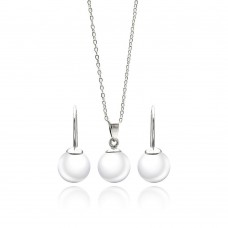 Wholesale Sterling Silver 925 Rhodium Plated White Enamel Pearl Lever Back Earring and Necklace Set - STS00437