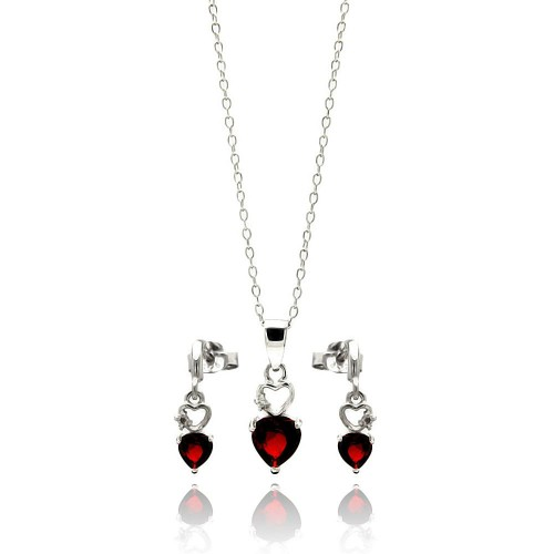 Wholesale Sterling Silver 925 Rhodium Plated Open Graduated Red Heart Stud Earring and Necklace Set - STS00438