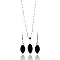 Wholesale Sterling Silver 925 Rhodium Plated Black Marquis CZ Dangling Lever Back Earring and Necklace Set - STS00439