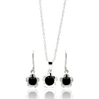 Wholesale Sterling Silver 925 Rhodium Plated Flower Black Round CZ Dangling Lever Back Stud Earring and Necklace Set - STS00444