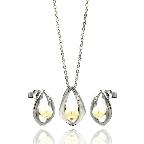 Wholesale Sterling Silver 925 Rhodium Plated Open Teardrop Center Pearl Stud Earring and Necklace Set - STS00446WHT