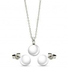 Wholesale Sterling Silver 925 Rhodium Plated Pearl Stud Earring and Necklace Set - STS00447WHT