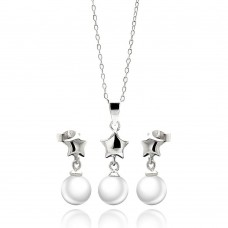 Wholesale Sterling Silver 925 Rhodium Plated Star White Enamel Pearl Dangling Stud Earring and Necklace Set - STS00448