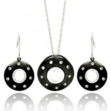 **Closeout** Wholesale Sterling Silver 925 Rhodium Plated Round Black Onyx CZ Hook Earring and Necklace Set - STS00449