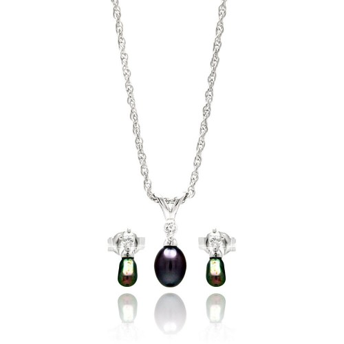 Wholesale Sterling Silver 925 Rhodium Plated Small Fresh Water Black Pearl Dangling Set - STS00451