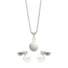 Wholesale Sterling Silver 925 Rhodium Plated Hanging Pearl Stud Earring and Necklace Set - STS00452