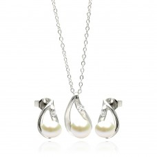 Wholesale Sterling Silver 925 Rhodium Plated Curvy Open Teardrop Pearl Set - STS00445