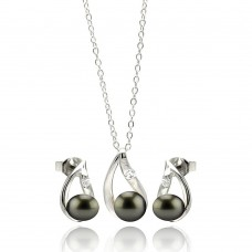 Wholesale Sterling Silver 925 Rhodium Plated Open Teardrop Black Pearl Hanging Earring and Necklace Set - STS00457