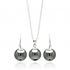 Wholesale Sterling Silver 925 Rhodium Plated Hanging Black Pearl Hook Earring and Necklace Set - STS00458
