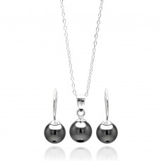 Wholesale Sterling Silver 925 Rhodium Plated Black Hanging Hook Earring and Necklace Set - STS00459