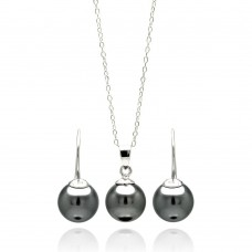 Wholesale Sterling Silver 925 Rhodium Plated Black Pearl Hanging Earring and Necklace Set - STS00460