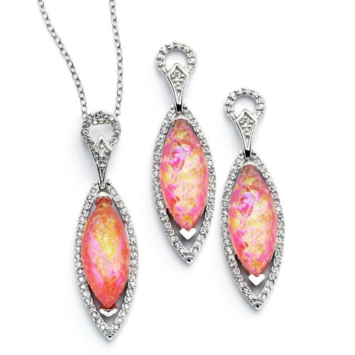 Wholesale Sterling Silver 925 Rhodium Plated Pink CZ Dangling Stud Earring and Necklace Set - STS00465
