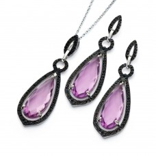 Wholesale Sterling Silver 925 Black Rhodium Plated Pink Teardrop CZ Dangling Stud Earring and Necklace Set - STS00471