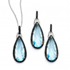 Wholesale Sterling Silver 925 Black Rhodium Plated Blue Teardrop CZ Dangling Stud Earring and Necklace Set - STS00472