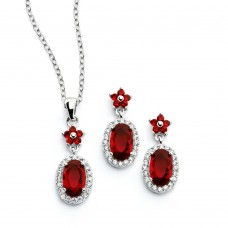 Sterling Silver Rhodium Plated Flower Round Red CZ Dangling Stud Earring & Necklace Set sts00473