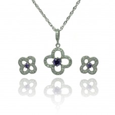Wholesale Sterling Silver 925 Rhodium Plated Open Flower Purple Small Round CZ Stud Earring and Necklace Set - STS00474