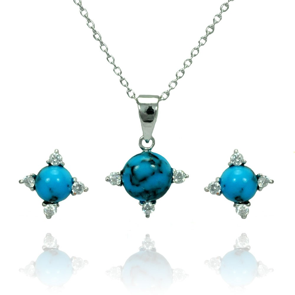 Wholesale Sterling Silver 925 Rhodium Plated Blue Ball CZ Stud Earring and Necklace Set - STS00476