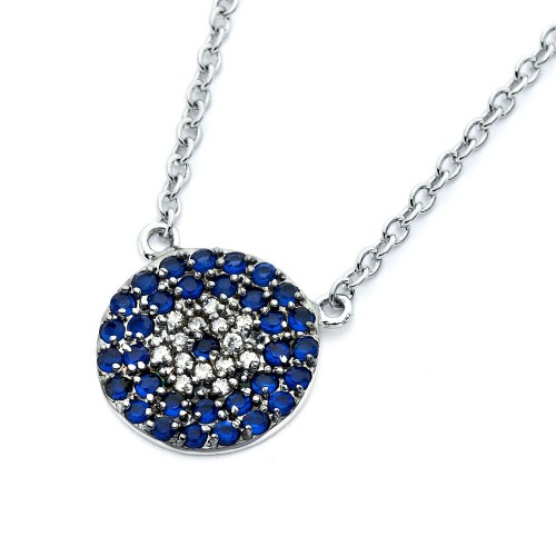 Wholesale Sterling Silver 925 Rhodium Plated Blue and Clear Circle CZ Necklace - BGP00791