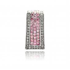 Sterling Silver Rhodium Plated Channel Rectangular Pink CZ Pendant acp00002pnk