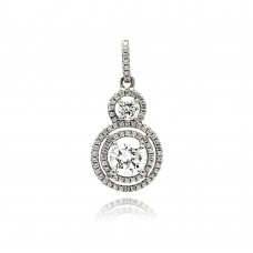 Sterling Silver Rhodium Plated Multiple Graduated Circle Micro Pave CZ Dangling Pendant - ACP00075