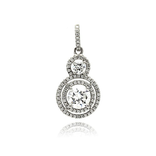 Wholesale Sterling Silver 925 Rhodium Plated Multiple Graduated Circle Micro Pave CZ Dangling Pendant - ACP00075