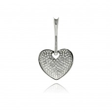 Wholesale Sterling Silver 925 Rhodium Plated heart Micro Pave CZ Dangling Pendant - ACP00077
