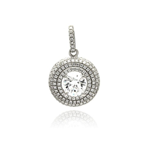 Wholesale Sterling Silver 925 Rhodium Plated Circle Micro Pave CZ Dangling Pendant - ACP00084
