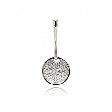 Wholesale Sterling Silver 925 Rhodium Plated Circle Micro Pave CZ Dangling Pendant - ACP00085