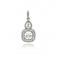 Wholesale Sterling Silver 925 Rhodium Plated Square Teardrop Micro Pave CZ Dangling Pendant - ACP00087