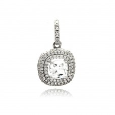 Wholesale Sterling Silver 925 Rhodium Plated Square Micro Pave CZ Dangling Pendant - ACP00088