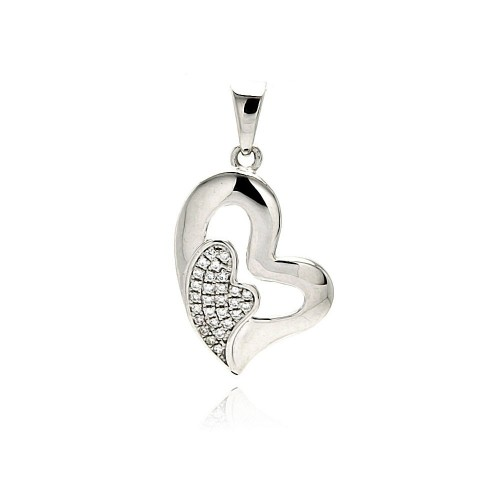 Wholesale Sterling Silver 925 Rhodium Plated Open Heart Micro Pave CZ Inlay Mini Heart Dangling Pendant - ACP00091