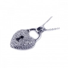 Sterling Silver Clear CZ Rhodium Plated puffed Lock Heart Pendant Necklace - BGP00030