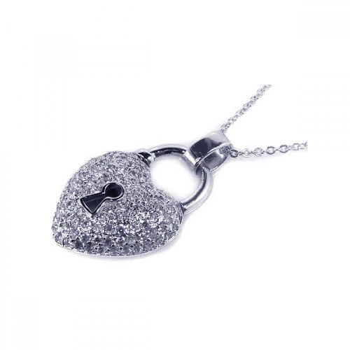 Wholesale Sterling Silver 925 Clear CZ Rhodium Plated Puffed Lock Heart Pendant Necklace - BGP00030