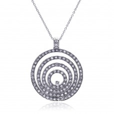 **Closeout** Sterling Silver Clear CZ Rhodium Plated Multi Circle Pendant Necklace - STP00053