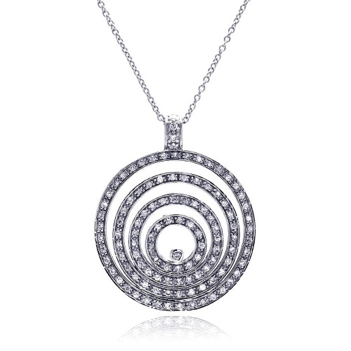 **Closeout** Wholesale Sterling Silver 925 Clear CZ Rhodium Plated Multi Circle Pendant Necklace - STP00053